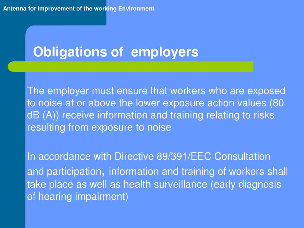 The employer must ensure that workers who are exposed to noise at or above the lower exposure action values (80 dB (A)) receive information and training relating to risks resulting from exposure to noise