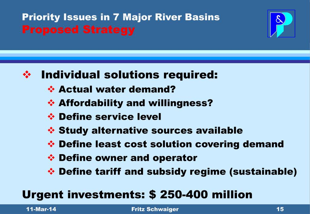 Priority Issues in 7 Major River Basins