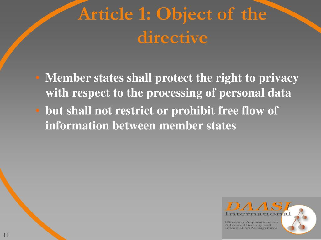 Article 1: Object of the directive