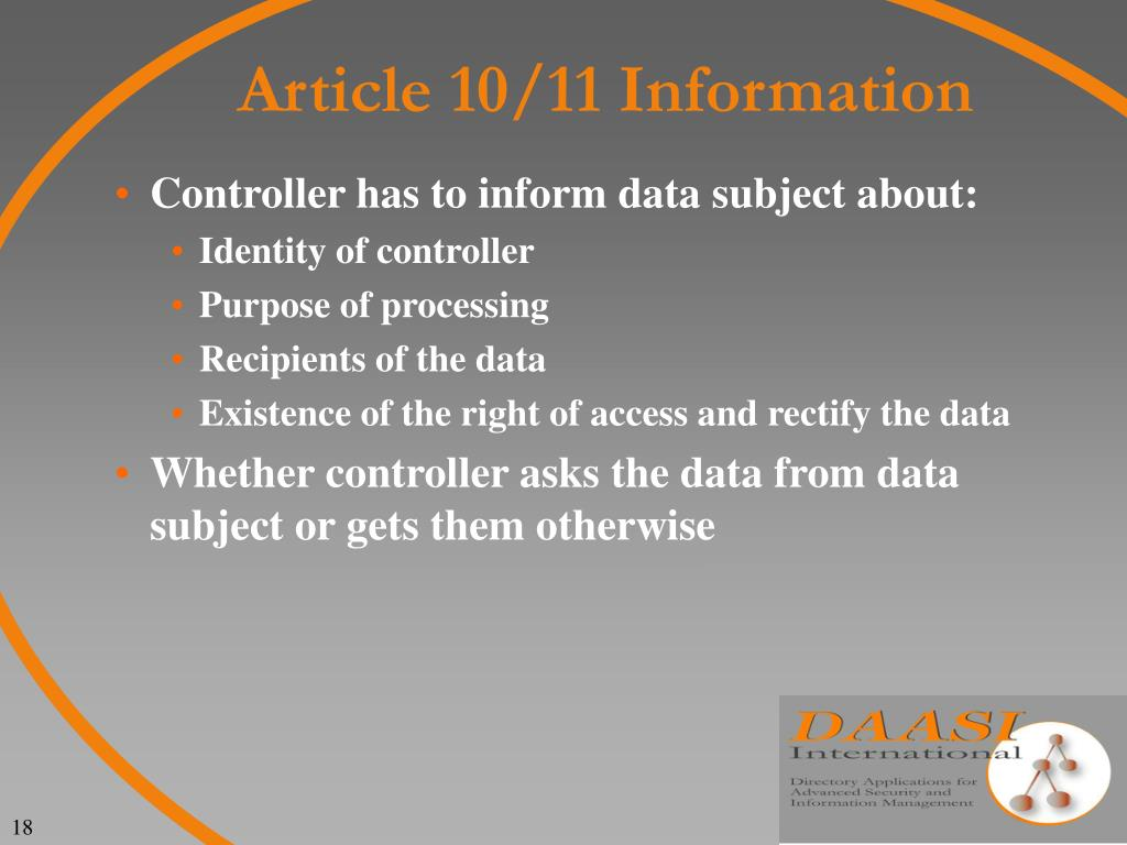 Article 10/11 Information