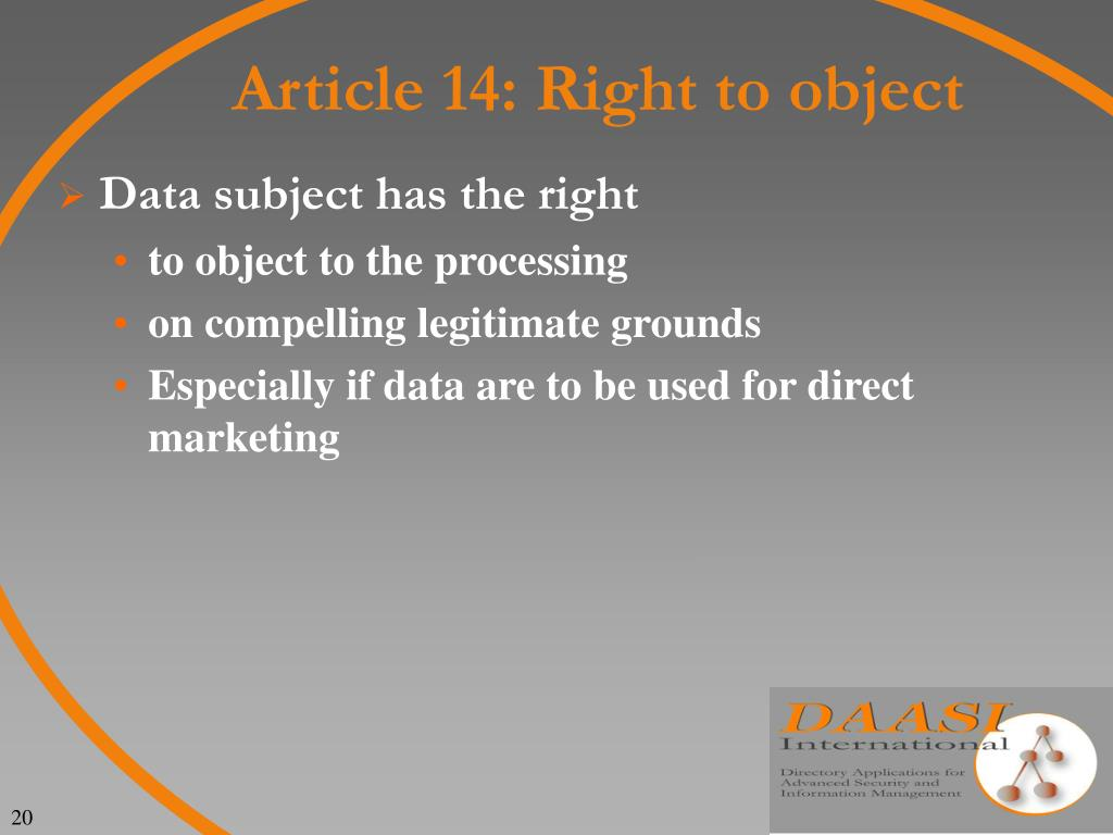Article 14: Right to object