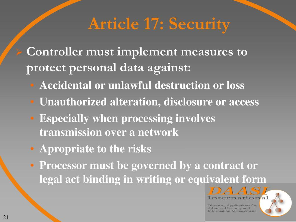 Article 17: Security