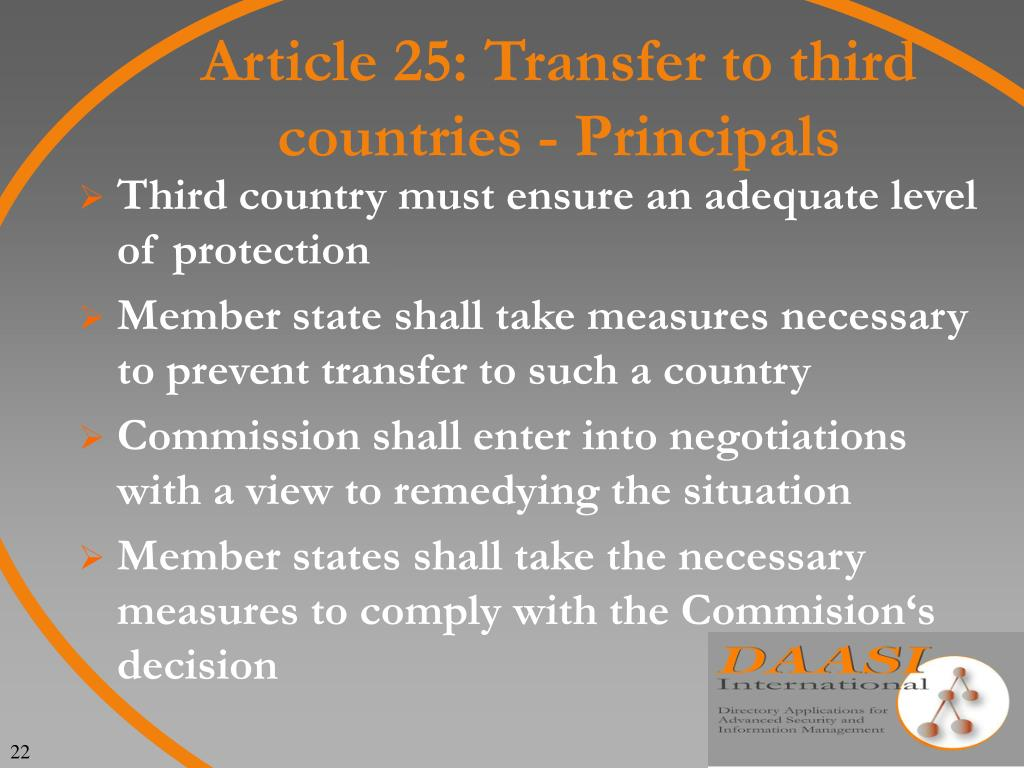 Article 25: Transfer to third countries - Principals