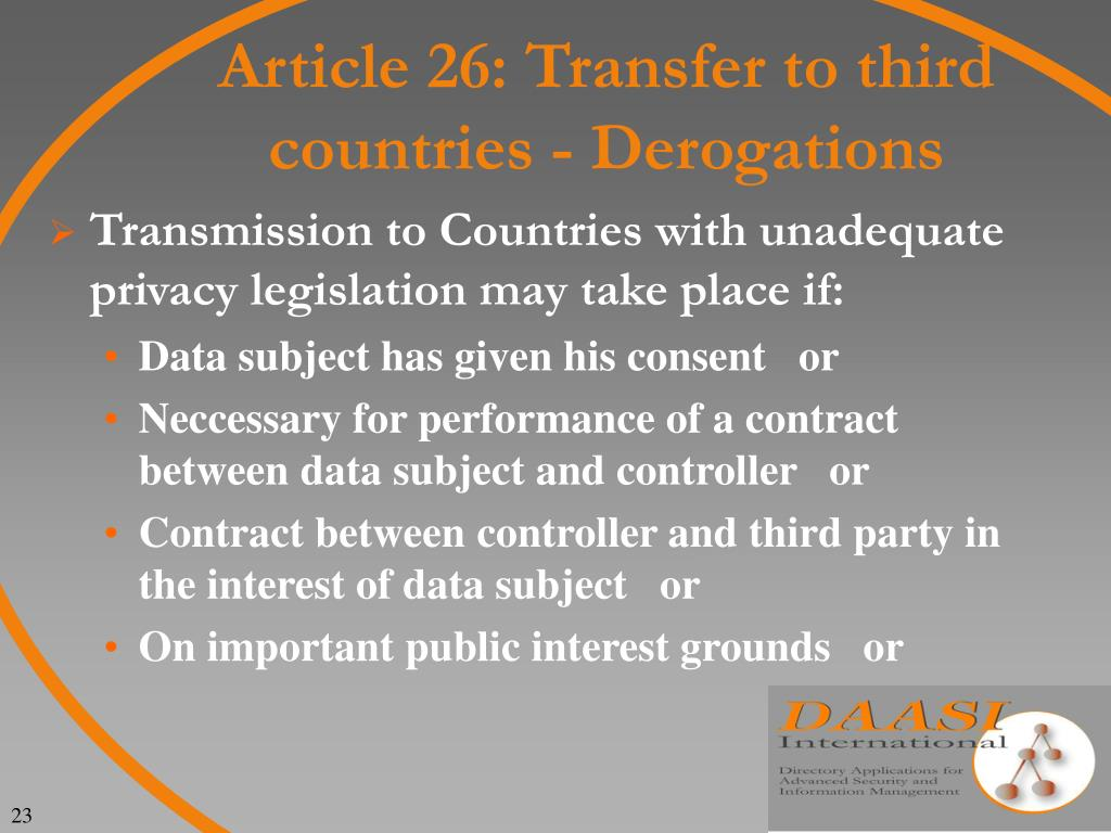 Article 26: Transfer to third countries - Derogations