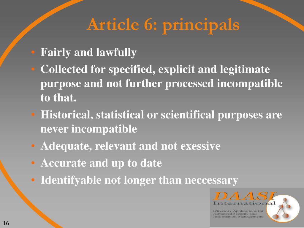 Article 6: principals