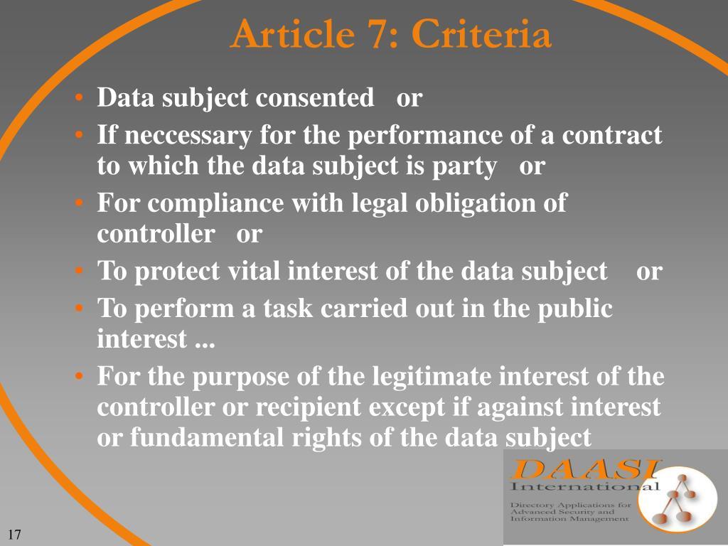 Article 7: Criteria