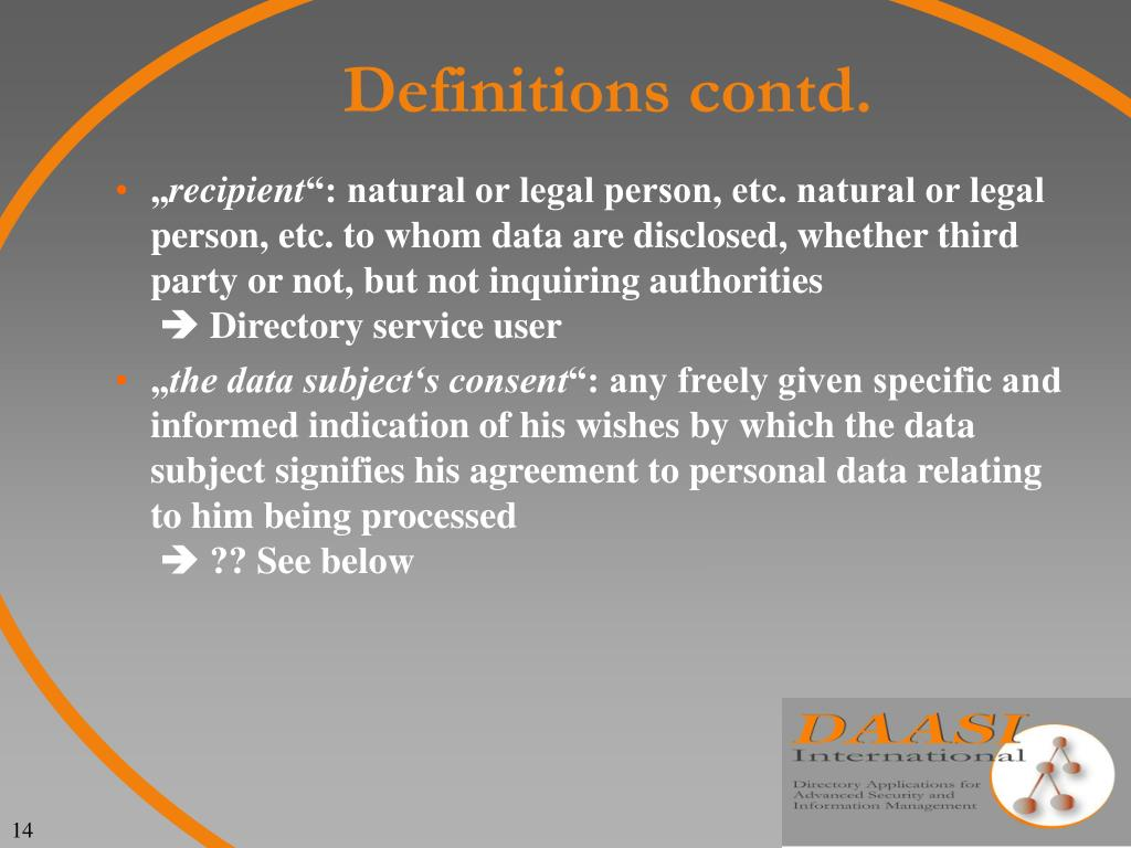 Definitions contd.