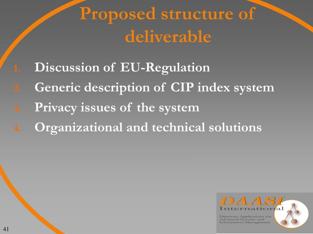 Proposed structure of deliverable
