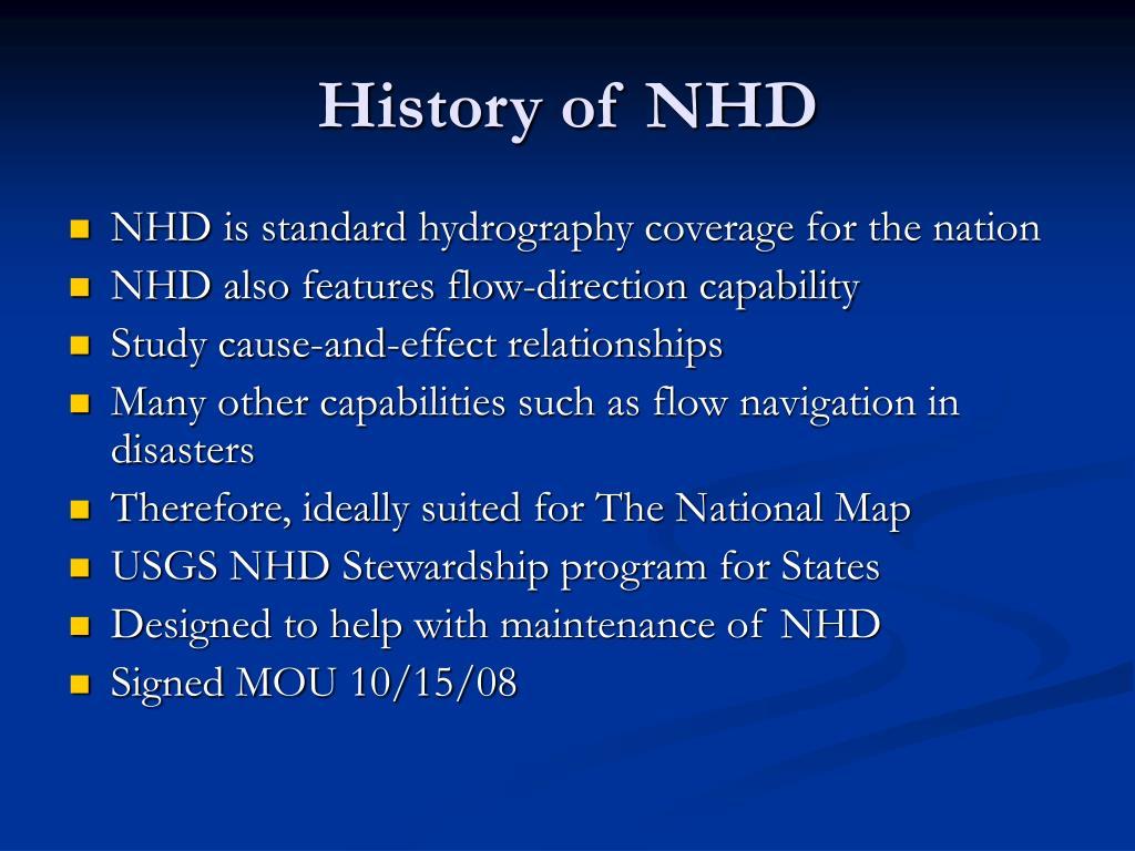 History of NHD