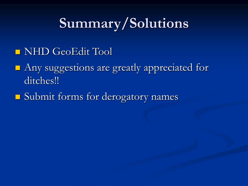 Summary/Solutions