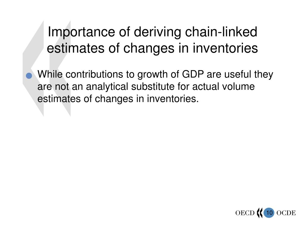 Importance of deriving chain-linked estimates of changes in inventories