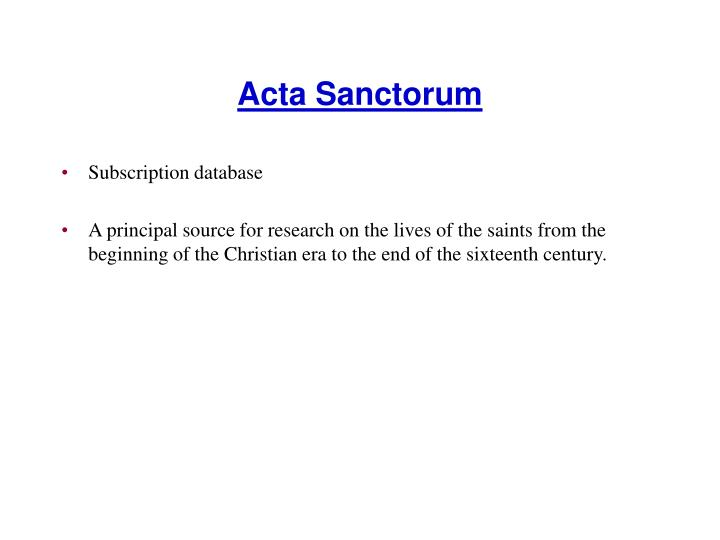 Acta Sanctorum