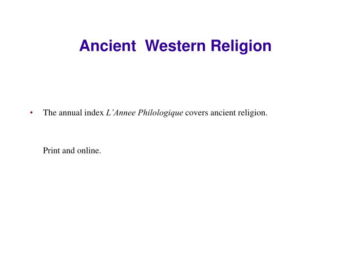 Ancient  Western Religion