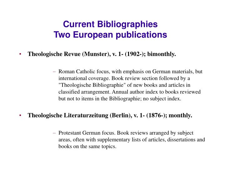 Current Bibliographies