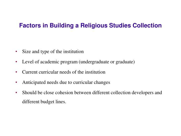 Factors in Building a Religious Studies Collection