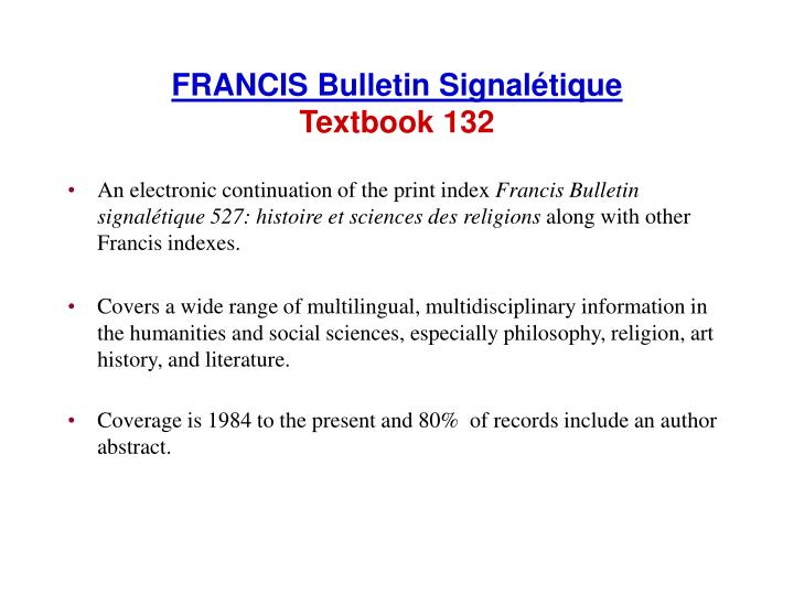 FRANCIS Bulletin Signalétique