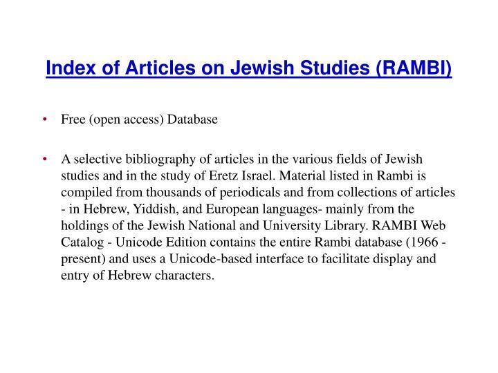 Index of Articles on Jewish Studies (RAMBI)