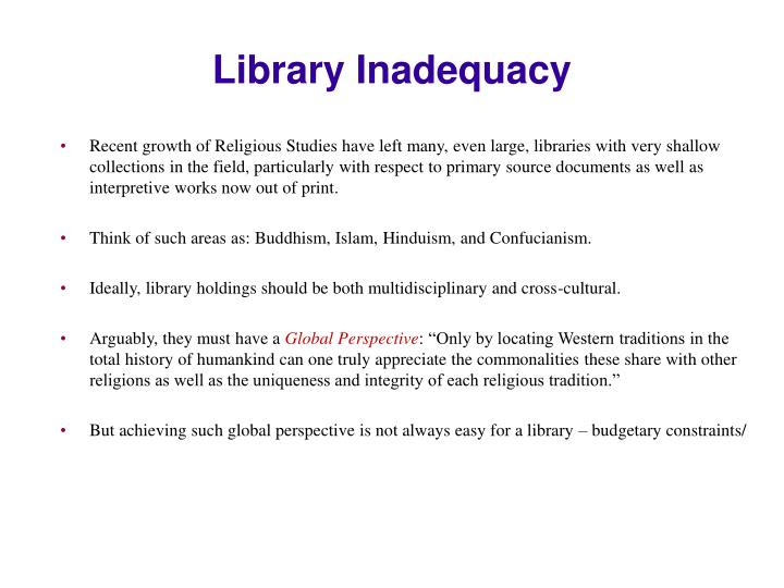 Library Inadequacy