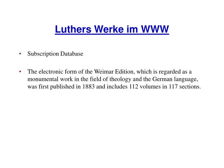 Luthers Werke im WWW