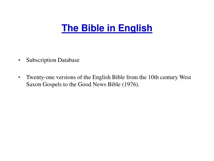 The Bible in English