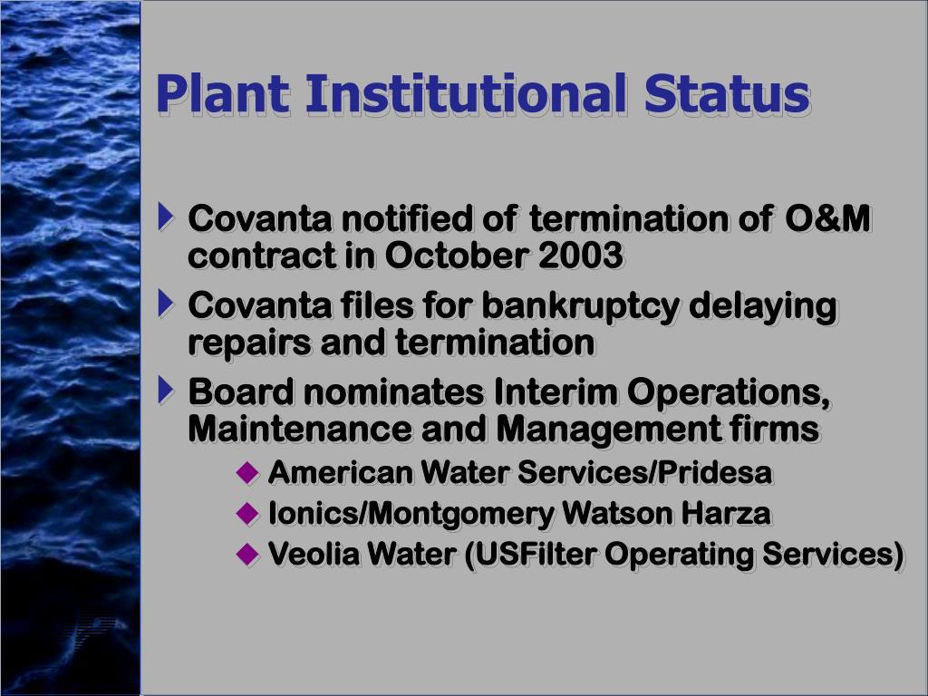Plant Institutional Status
