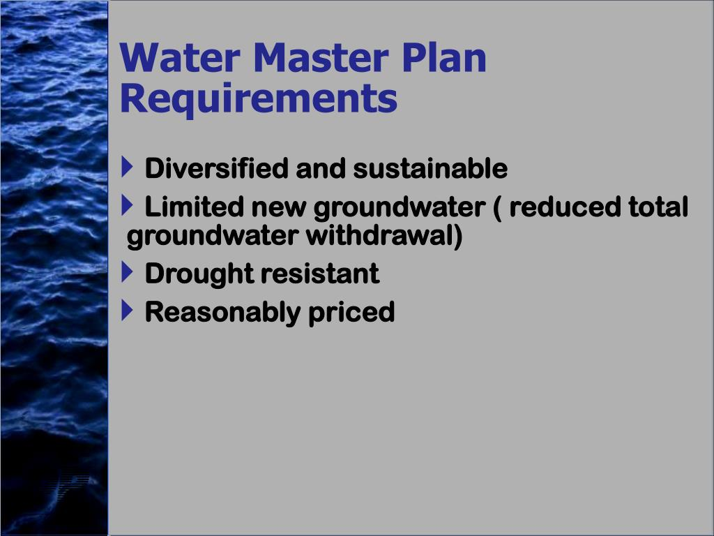 Water Master Plan Requirements