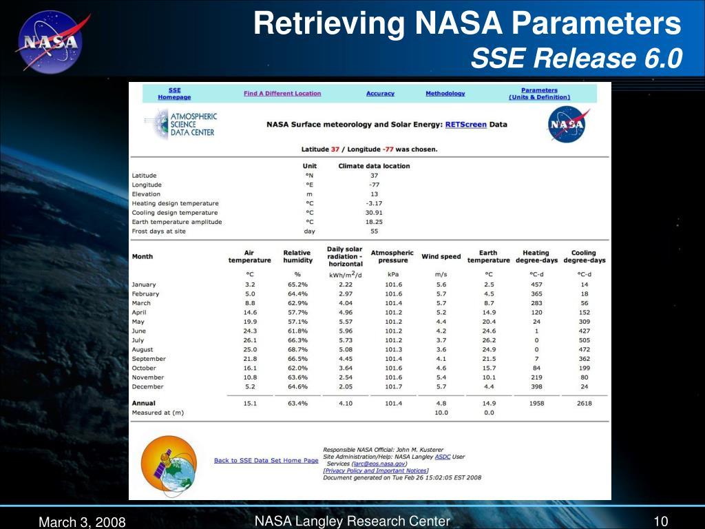 Retrieving NASA Parameters