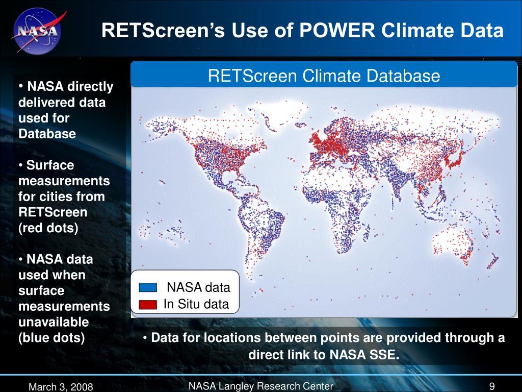 RETScreen's Use of POWER Climate Data
