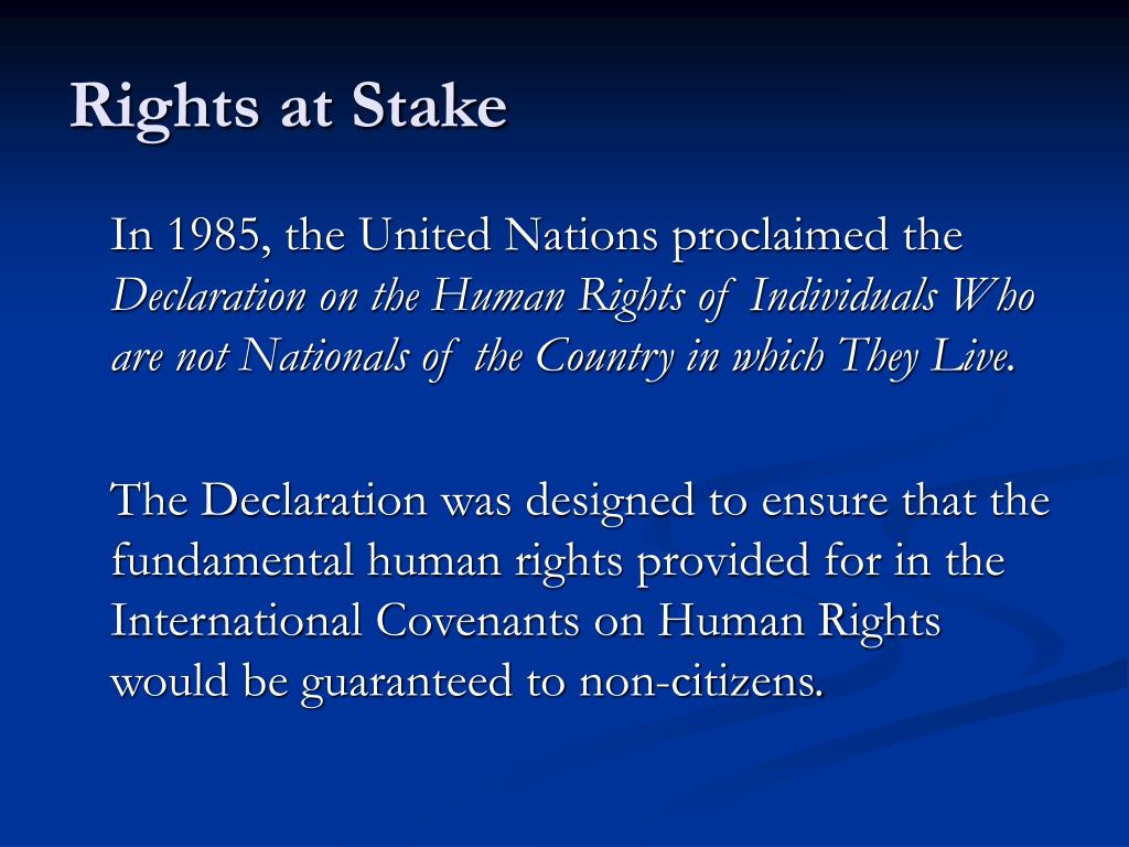 Rights at Stake