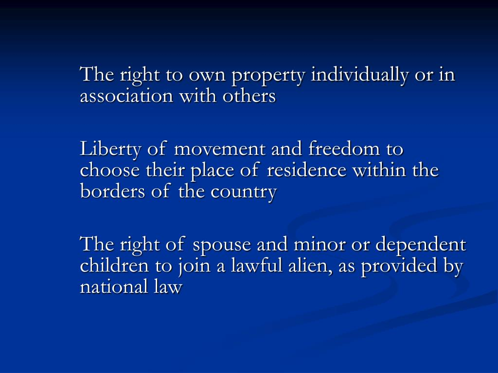 The right to own property individually or in association with others