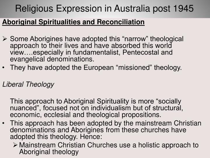 Religious Expression in Australia post 1945