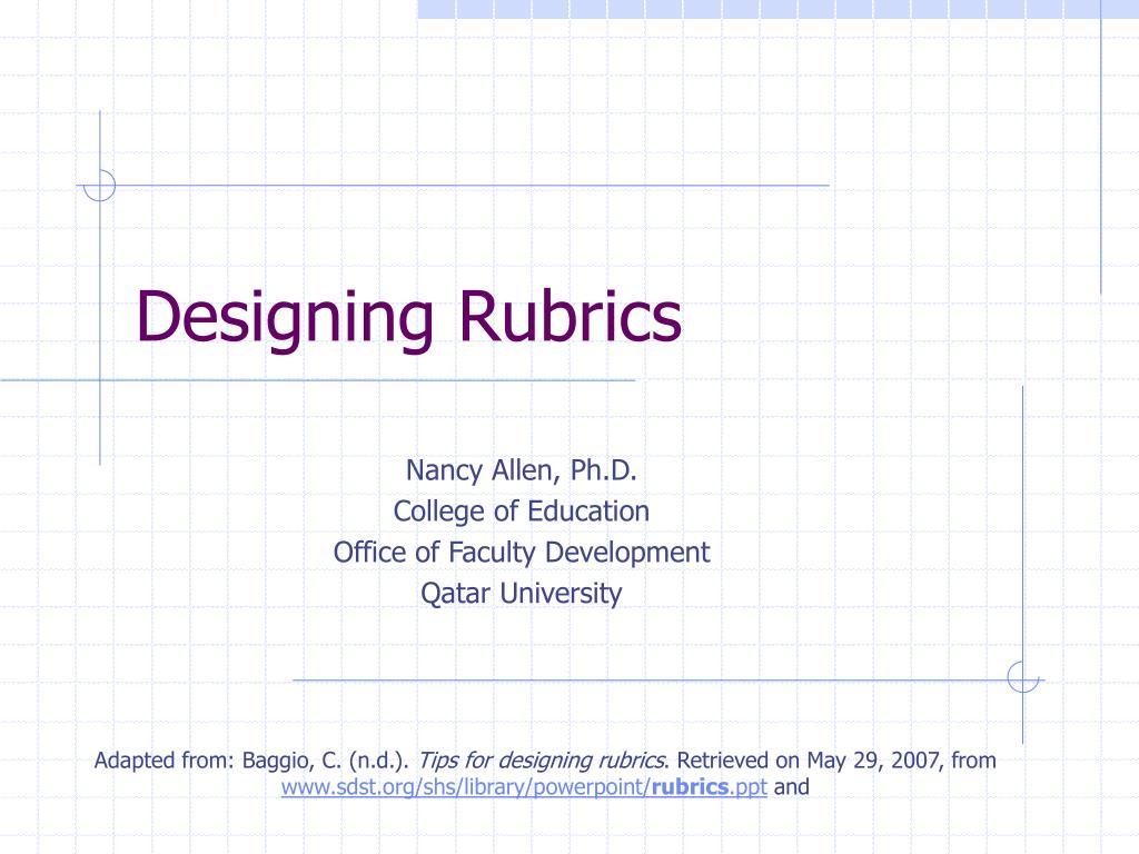 Designing Rubrics
