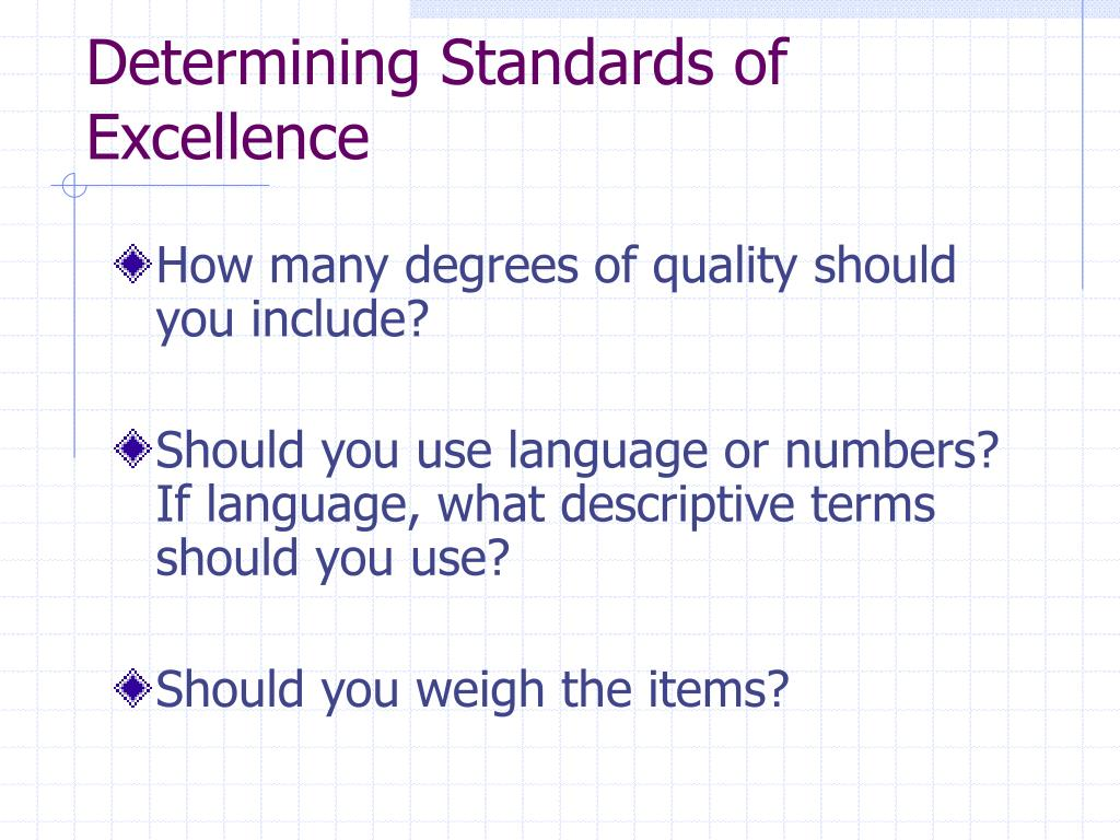 Determining Standards of Excellence