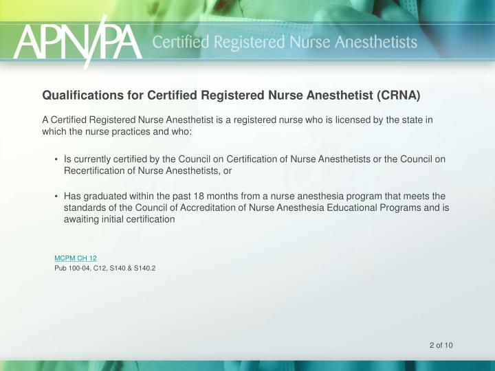 Qualifications for certified registered nurse anesthetist crna