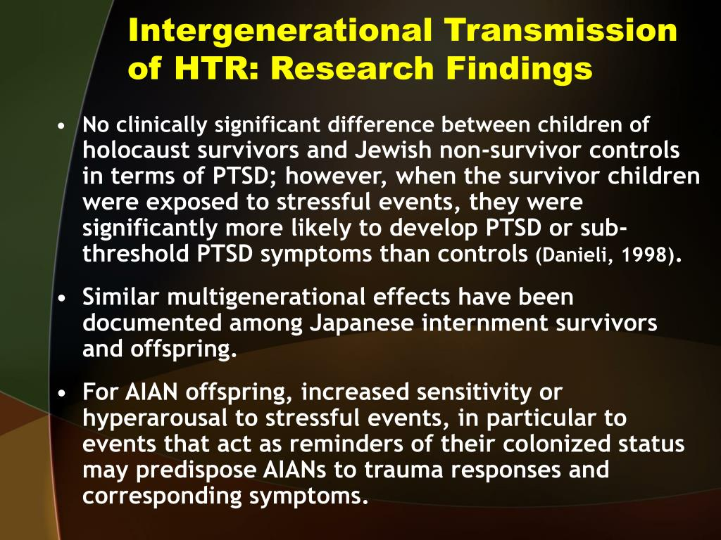 Intergenerational Transmission of HTR: Research Findings