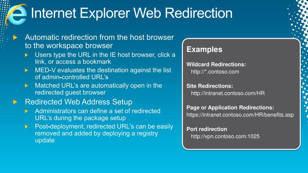 Internet Explorer Web Redirection