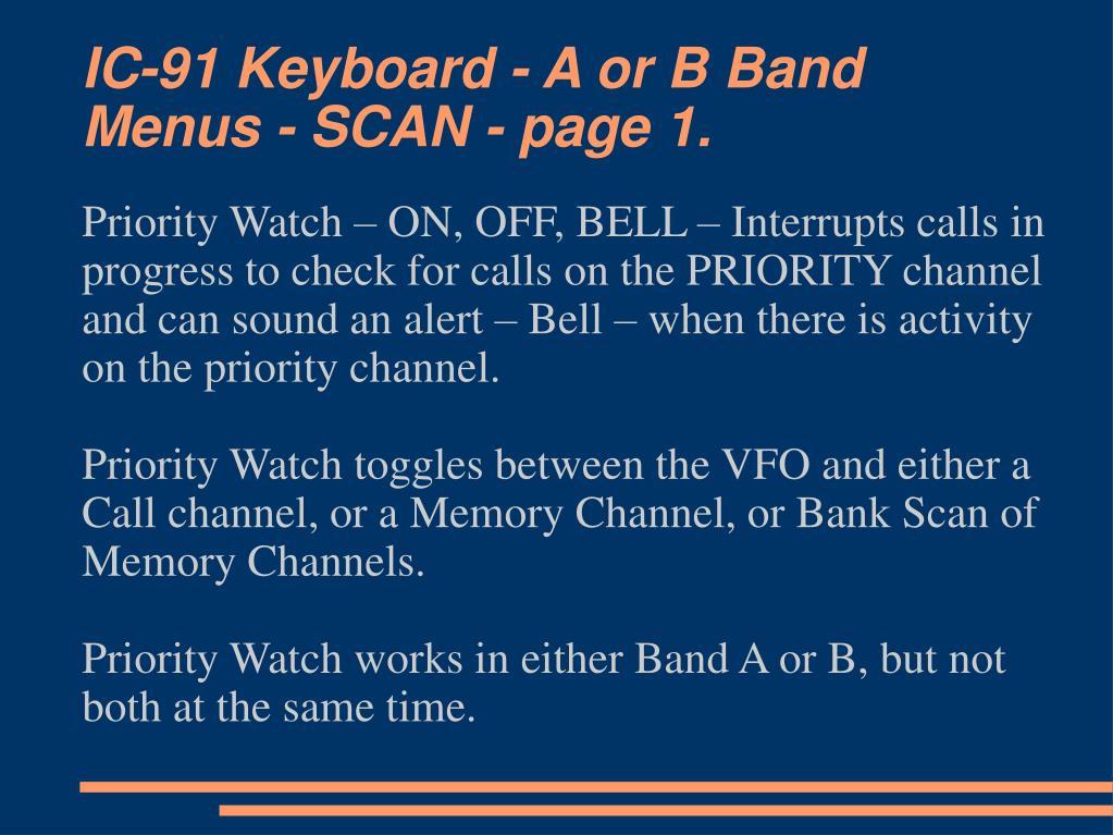 IC-91 Keyboard - A or B Band Menus - SCAN - page 1.
