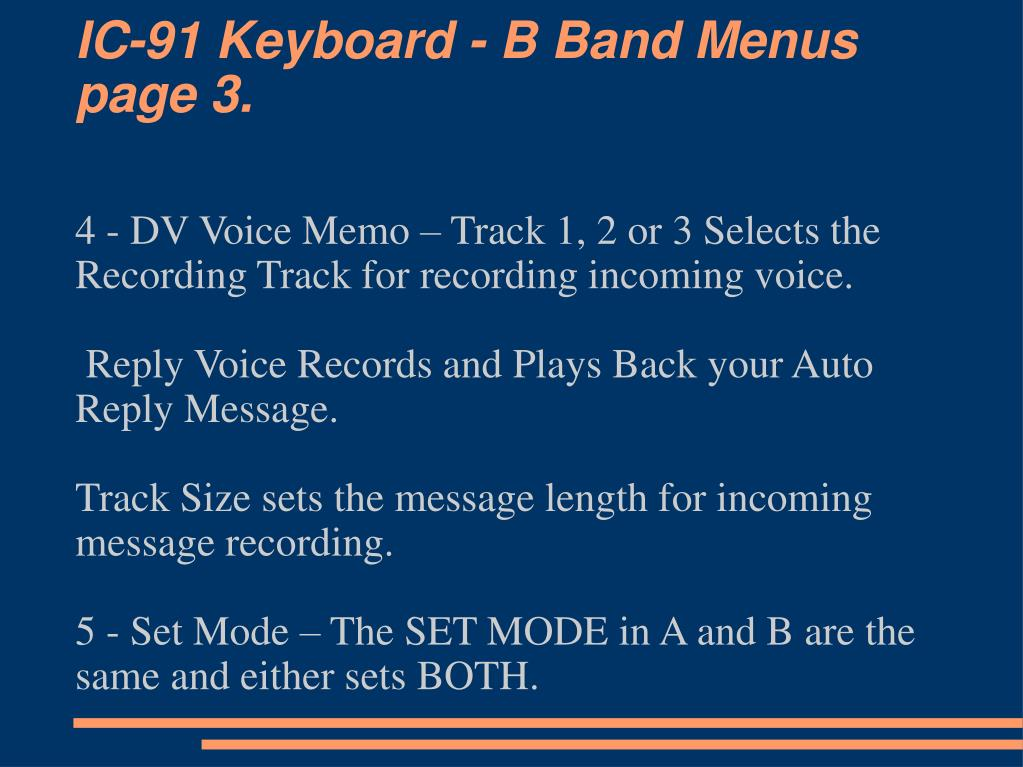 IC-91 Keyboard - B Band Menus