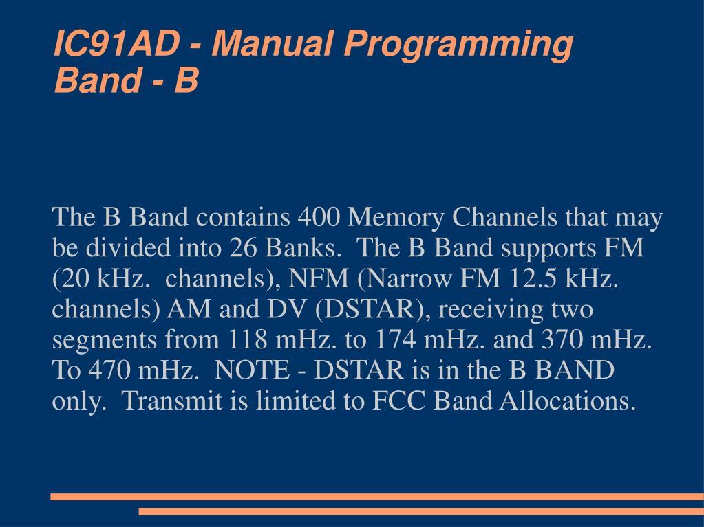 IC91AD - Manual Programming