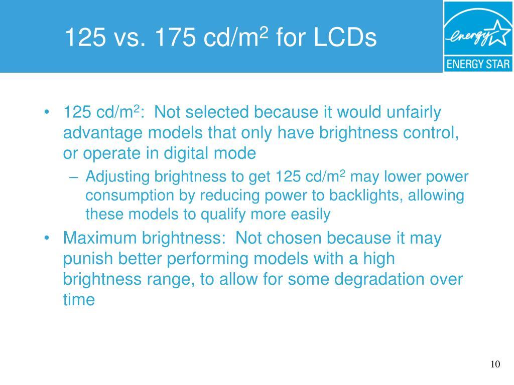 125 vs. 175 cd/m