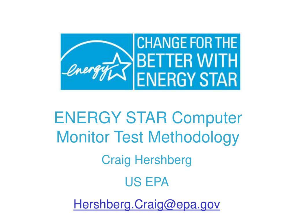 ENERGY STAR Computer Monitor Test Methodology