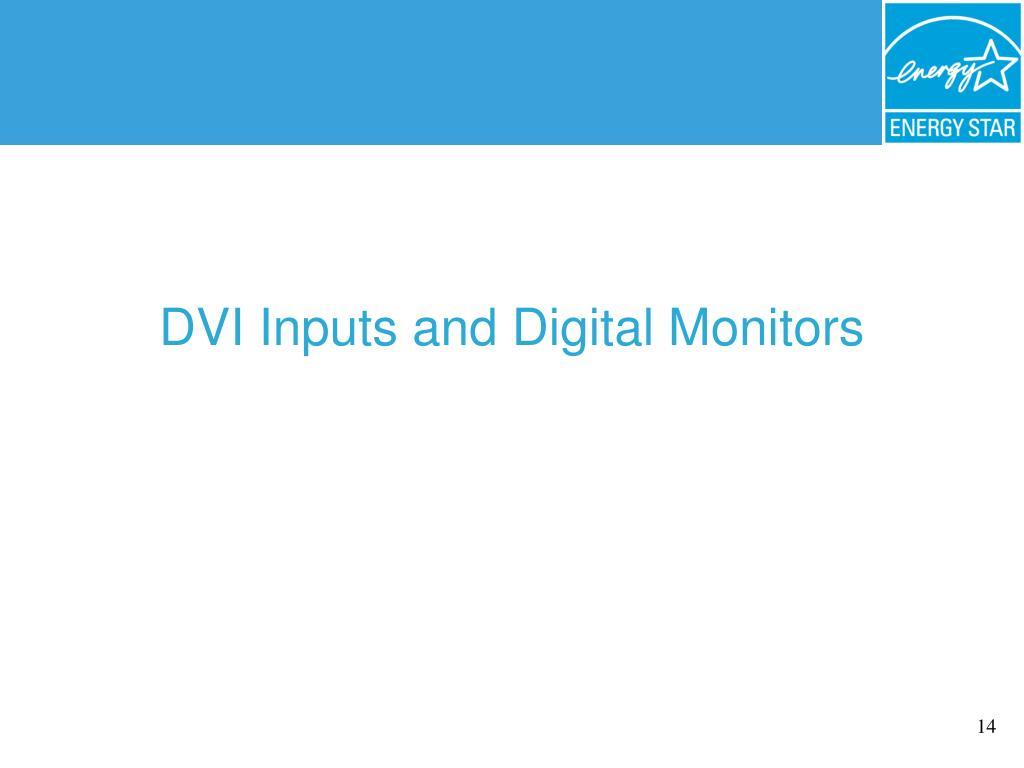 DVI Inputs and Digital Monitors