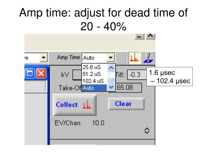 Amp time: adjust for dead time of 20 - 40%