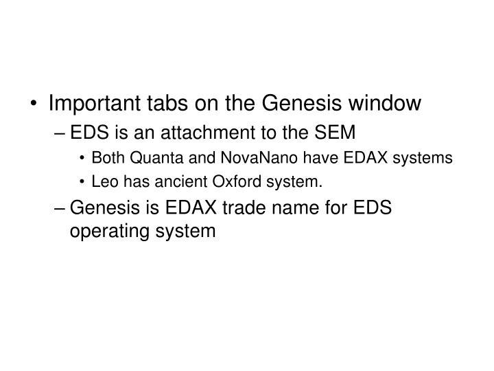 Important tabs on the Genesis window