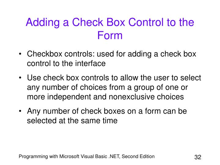 Adding a Check Box Control to the Form