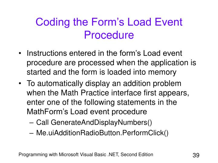 Coding the Form's Load Event Procedure