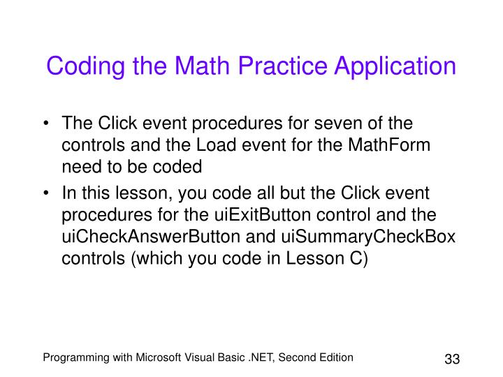 Coding the Math Practice Application