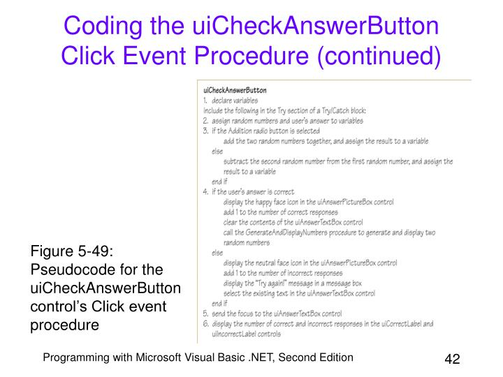 Coding the uiCheckAnswerButton Click Event Procedure (continued)
