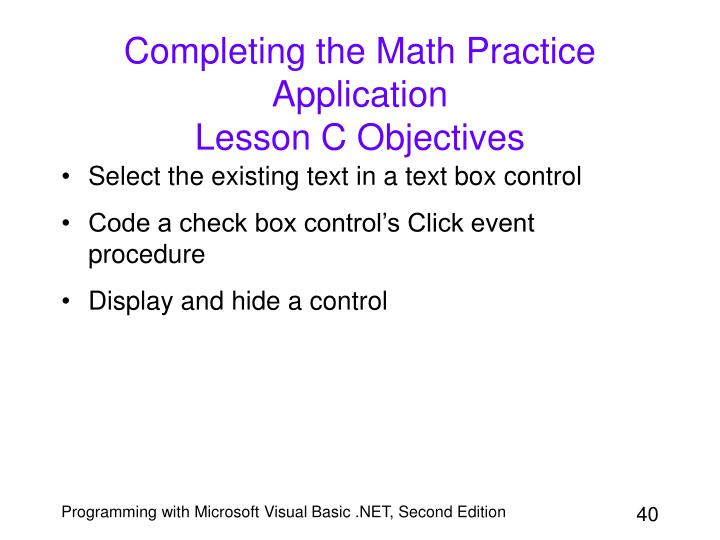 Completing the Math Practice Application