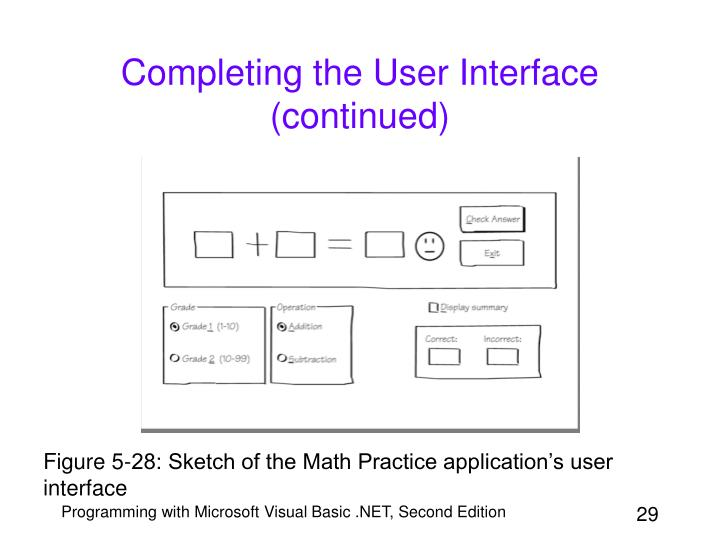 Completing the User Interface (continued)